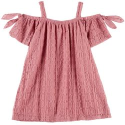 RMLA Little Girls Medallion Lace Cold Shoulder Dress
