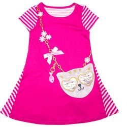 Nannette Little Girls Cat Purse Stripe Dress
