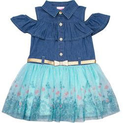 Nannette Little Girls Butterfly Border Chambray Tulle Dress
