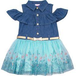 Nannette Little Girls Butterfly Border Chambray Tulle Dress
