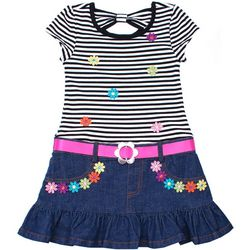 Nannette Little Girls Striped Floral Denim Dress