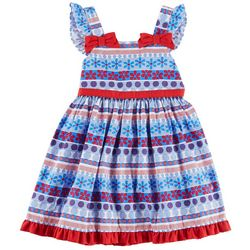 Nannette Little Girls Floral Dot Sundress