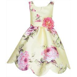 Lilt Little Girls Floral Scallop Sleeveless Dress
