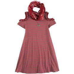Lilt Big Girls 3-pc. Striped Cold Shoulder Dress