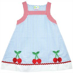 Samara Little Girls Checkered Cherry Embroidered Dress