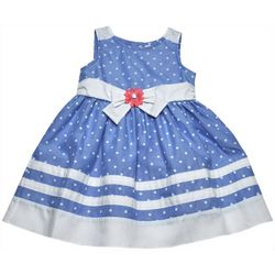 Samara Little Girls Polka Dot Bow Sleeveless Dress