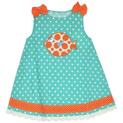 Samara Little Girls Polka Dot Fish Embroidered Dress