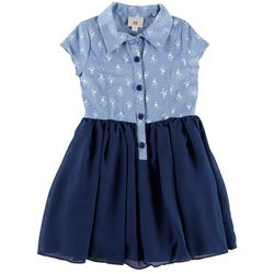 Marmellata Little Girls Chambray Button Front Dress
