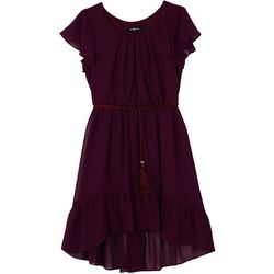 Amy Byer Big Girls Solid Ruffle High-Low Dress