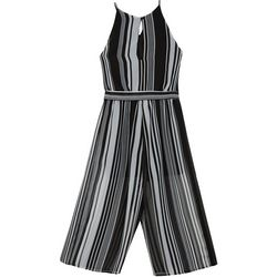 Amy Byer Big Girls Striped Tie Waist Jumpsuit
