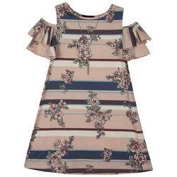 Amy Byer Big Girls Striped Floral Cold Shoulder Dress