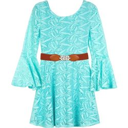 Amy Byer Big Girls Lace Bell Sleeve Belted Dress