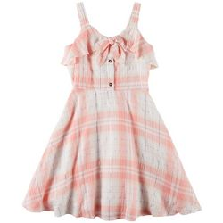 Emily West Big Girls Plaid Tie Front Dress
