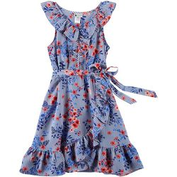 Emily West Big Girls Striped Floral Ruffle Wrap Dress