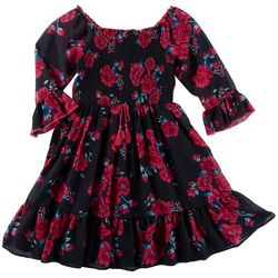 Emily West Big Girls Floral Print Smocked Top Dress