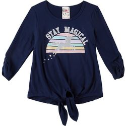 Lily Bleu Big Girls Stay Magical Unicorn Tie Front Top