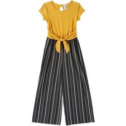 Lily Bleu Big Girls Striped Tie Front Short Sleeve Jumper