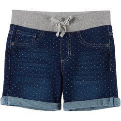 Vanilla Star Big Girls Glitter Knit Waist Dot Midi Shorts
