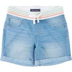 Vanilla Star Big Girls Glitter Rib Waist Denim Midi Shorts