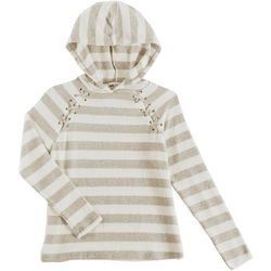 Poof Big Girls Striped Lace Up Hoodie