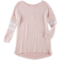 Poof Big Girls Solid Marl High-Low Long Sleeve Top