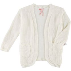 Poof Big Girls Chenille Long Sleeve Cardigan