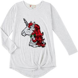 Poof Big Girls Sequined Holiday Unicorn Tie Front Top