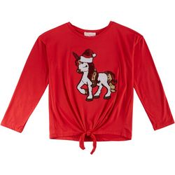 Poof Big Girls Santa Unicorn Sequin Tie Front Top
