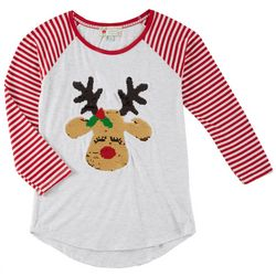 Poof Big Girls Reindeer Reversible Sequin Long Sleeve