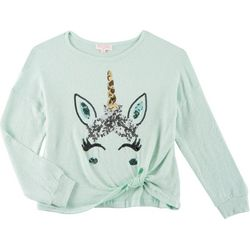 Poof Big Girls Sparkly Sequined Unicorn Twist Front Top
