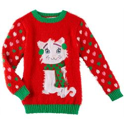 Poof Big Girls Winter Kitty Heart Long Sleeve Sweater