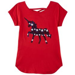 Poof Big Girls USA Sequin Unicorn T-Shirt