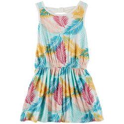 Poof Big Girls Tropical Palm Leaf Dress