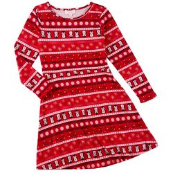 Poof Big Girls Penguin Stripe Long Sleeve Dress