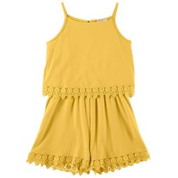 Laura Ashley Big Girls Giselle Lace Trim Sleeveless Romper