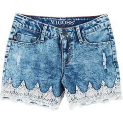 Vigoss Big Girls Acid Washed Lace Shorts