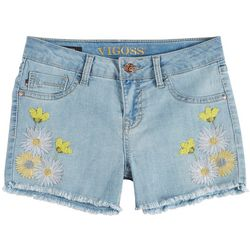 Vigoss Big Girls Embroidered Daisy Picnic Denim Shorts