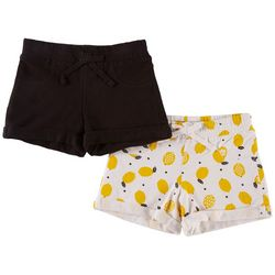 Vigoss Big Girls 2-pk. Lemon Print & Solid Roll Cuff Shorts