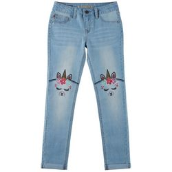 Vigoss Big Girls Embroidered Llama-corn Knee Skinny Jeans