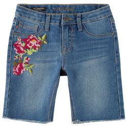 Vigoss Big Girls Floral Embroidered Denim Bermuda Shorts