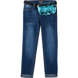 Vigoss Big Girls Sequin Fanny Pack Denim Jeans
