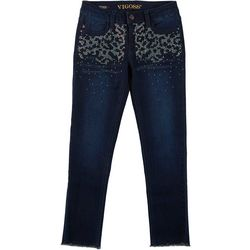 Vigoss Big Girls Shiny Embellished Leopard Denim Ankle Jeans