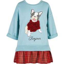 Speechless Big Girls Bonjour Dog Top