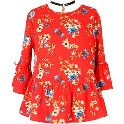 Speechless Big Girls Floral Bell Sleeve Top & Necklace