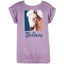 Speechless Big Girls Horse Believe Short Sleeve Top