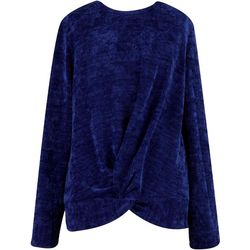 Speechless Big Girls Solid Twist Front Sweater Top