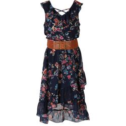 Speechless Big Girls Floral Belted High-Low Sleeveless Dress