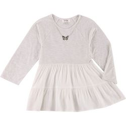 Speechless Big Girls Tiered Jersey Top & Necklace