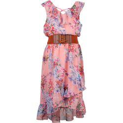 Speechless Big Girls Floral Corset Belt Dress