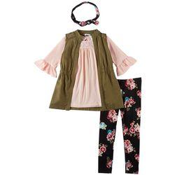 Forever Me Big Girls 4-pc. Floral Ruffle Sleeve Vest Set